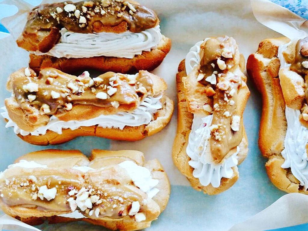 gluténmentes mogyorós karamellás ekler fánk